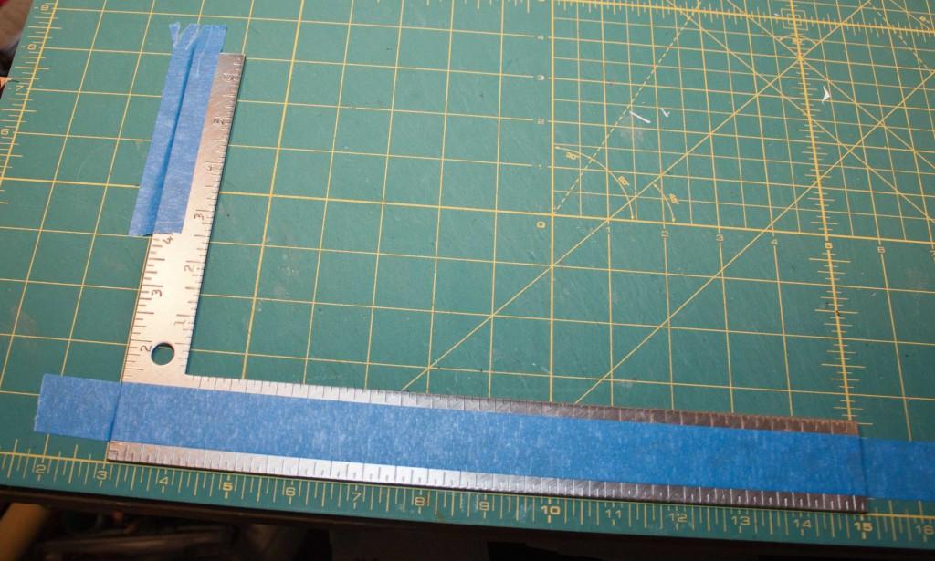 carpenter's square used to align boards