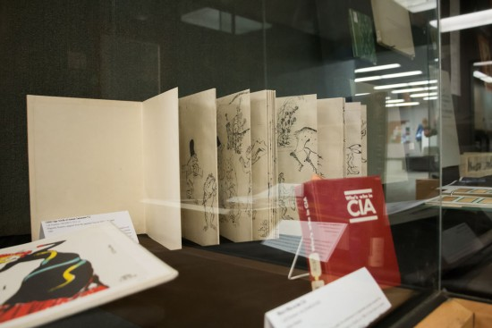 large accordion book in display case